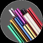 Insumos para sistema de impressão hot stamping, rolos de fitas em diversas cores.
