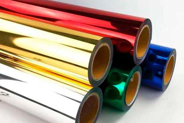 Bobinas empilhadas de Fitas hot stamping coloridas para aplicação em papel